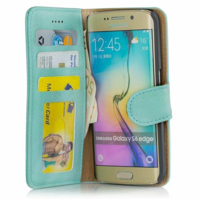 Golden Phoenix Samsung Galaxy S6 Edge Handyhuelle Royal Wallet-Case Wildleder tuerkis