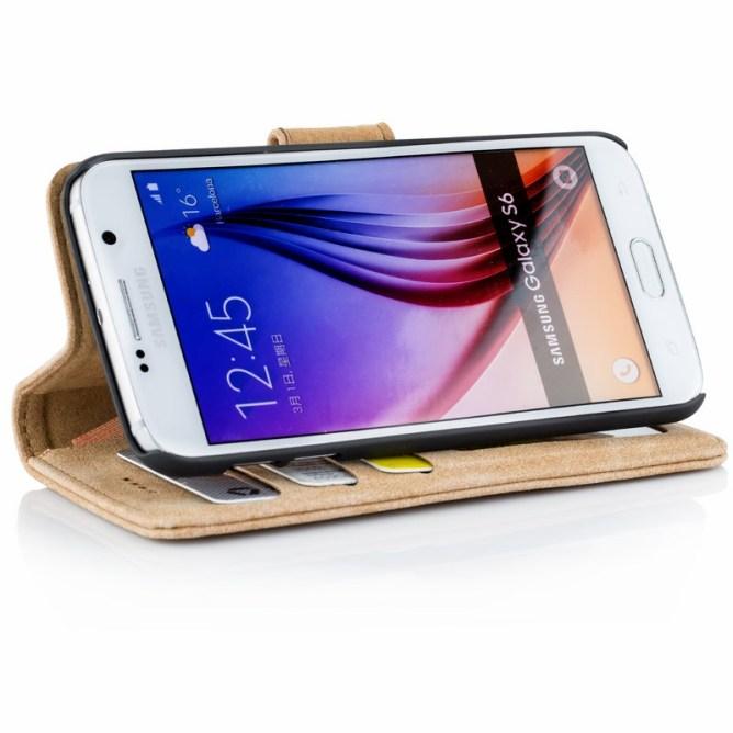 Golden Phoenix Samsung Galaxy S6 Handyhuelle Royal Wallet-Case Wildleder hellbraun Aufstellfunktion