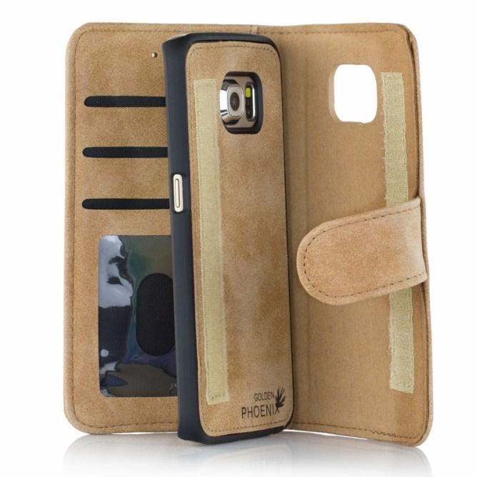 Golden Phoenix Samsung Galaxy S6 Handyhuelle Royal Wallet-Case Wildleder hellbraun abnehmbares Backcover