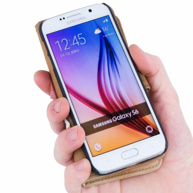 Golden Phoenix Samsung Galaxy S6 Handyhuelle Royal Wallet-Case Wildleder hellbraun aufgeklappt