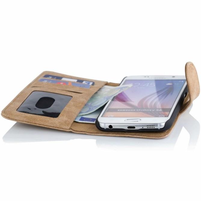 Golden Phoenix Samsung Galaxy S6 Handyhuelle Royal Wallet-Case Wildleder hellbraun geoeffnet
