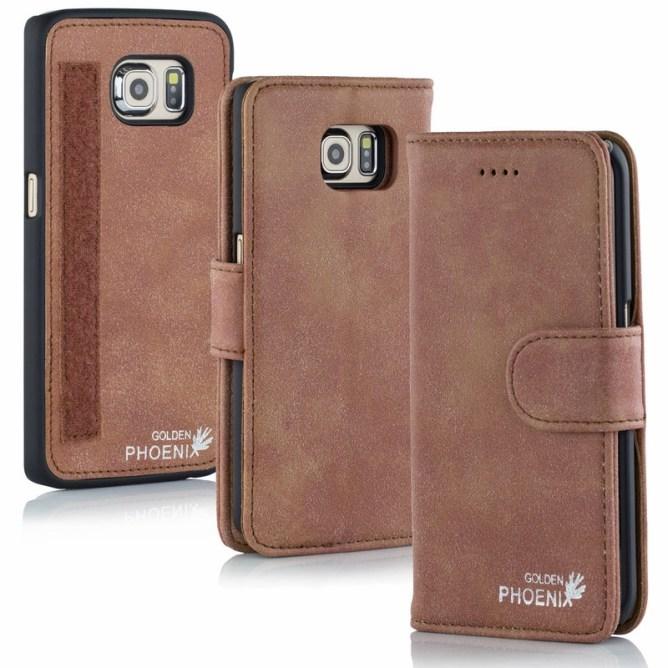 Golden Phoenix Samsung Galaxy S6 Handyhuelle Royal Wallet-Case Wildleder mahagoni