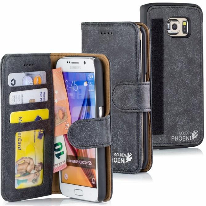 Golden Phoenix Samsung Galaxy S6 Handyhuelle Royal Wallet-Case Wildleder schwarz