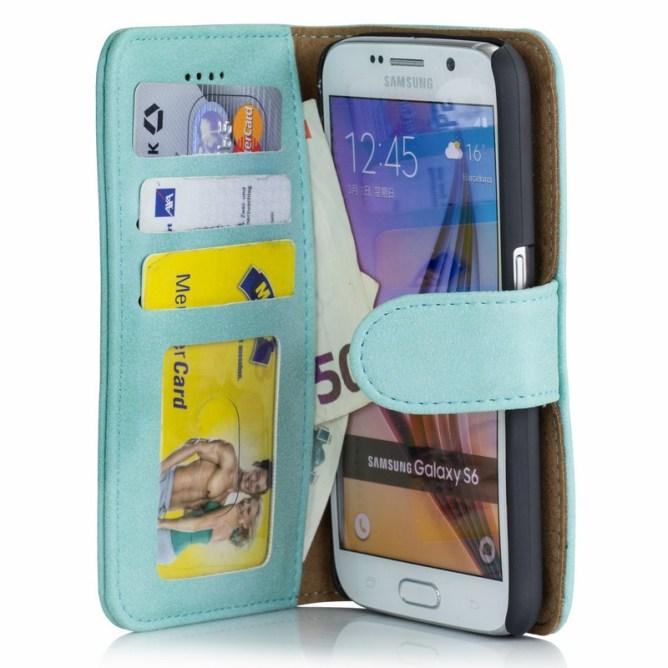 Golden Phoenix Samsung Galaxy S6 Handyhuelle Royal Wallet-Case Wildleder tuerkis
