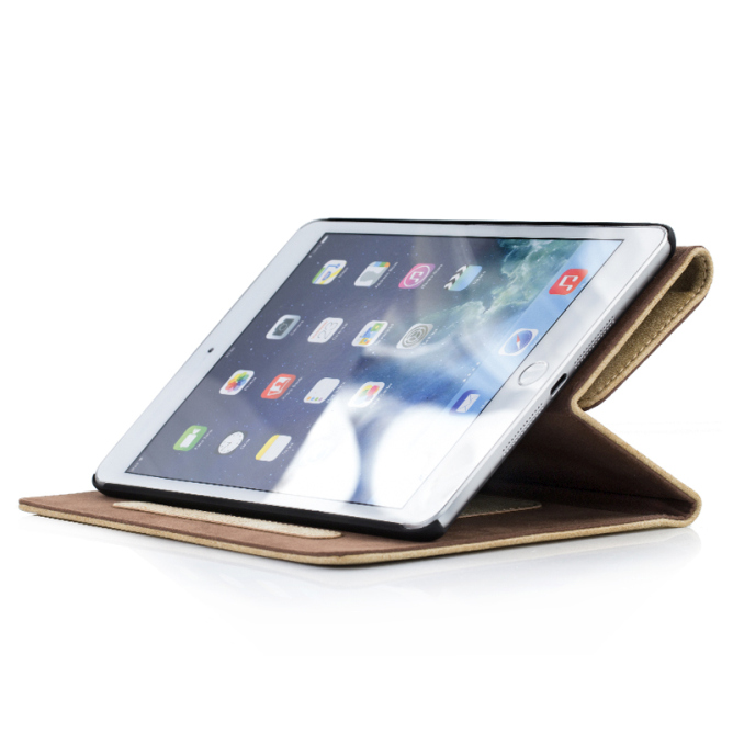 Golden Phoenix iPad Air 2 Ledertasche Klassik smart-case Wildleder hellbraun Aufstellfunktion