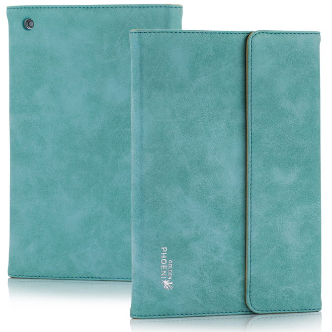 Golden Phoenix iPad Mini 2 Huelle Klassik Smart-Case Wildleder tuerkis