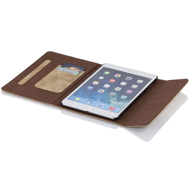 Golden Phoenix iPad Mini 2 Schutzhuelle Klassik Wildleder hellbraun aufgeklappt