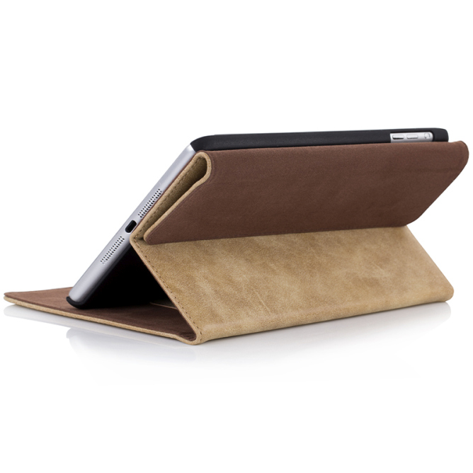 Golden Phoenix iPad Mini 2 Schutzhuelle Klassik Smart-Case Wildleder hellbraun Aufstellfunktion back