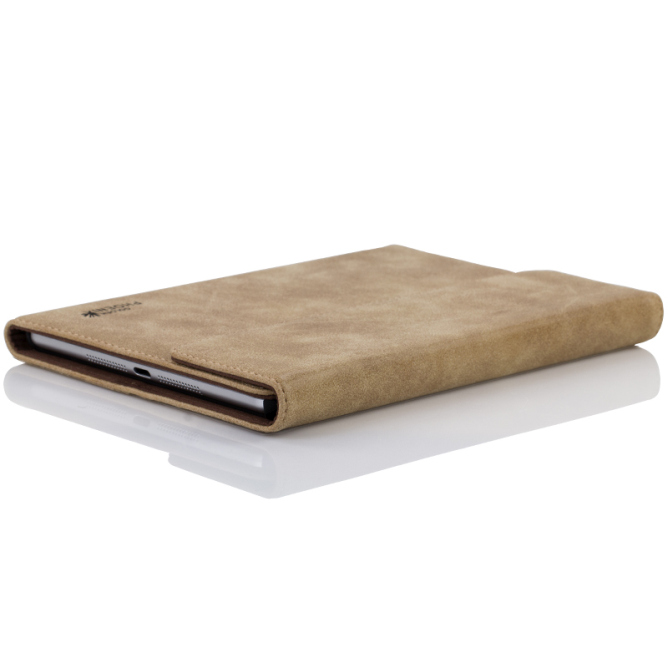 Golden Phoenix iPad Mini 3 Lederhuelle Klassik case Wildleder hellbraun