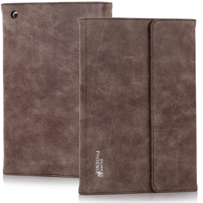 Golden Phoenix iPad Mini Tasche Klassik smart-case Wildleder braun