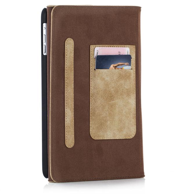 Golden Phoenix iPad Mini Case Klassik Wildleder hellbraun Kartenfaecher