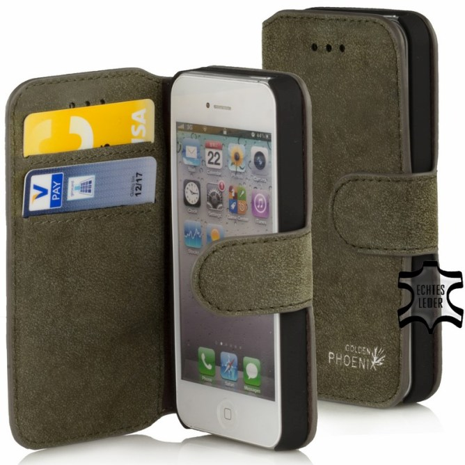 Golden Phoenix iPhone 4S Handyhuelle Klassik Wallet-Case Wildleder