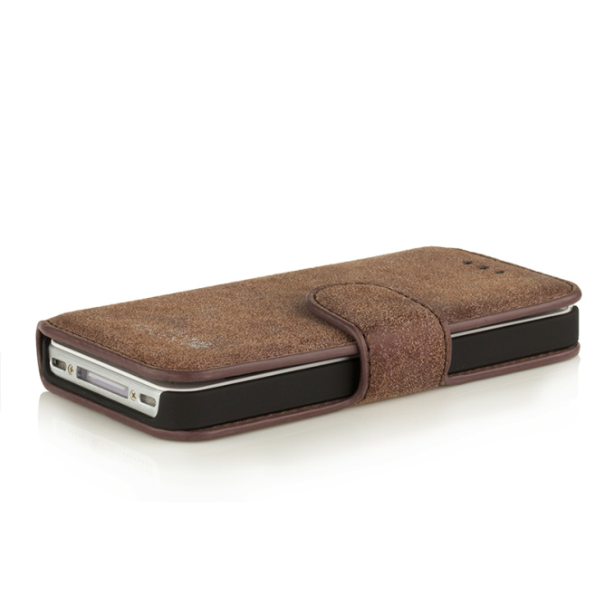 Golden Phoenix iPhone 4S Handyhuelle Klassik Wallet-Case Wildleder braun