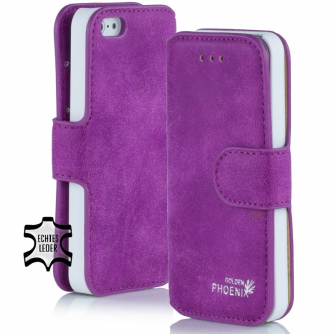 Golden Phoenix iPhone 4S Tasche Klassik Wallet-Case Wildleder violett