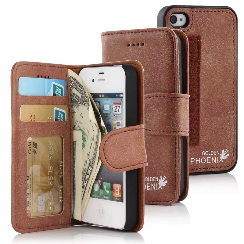 Golden Phoenix iPhone 4S Handyhuelle Royal Wallet-Case Wildleder braun