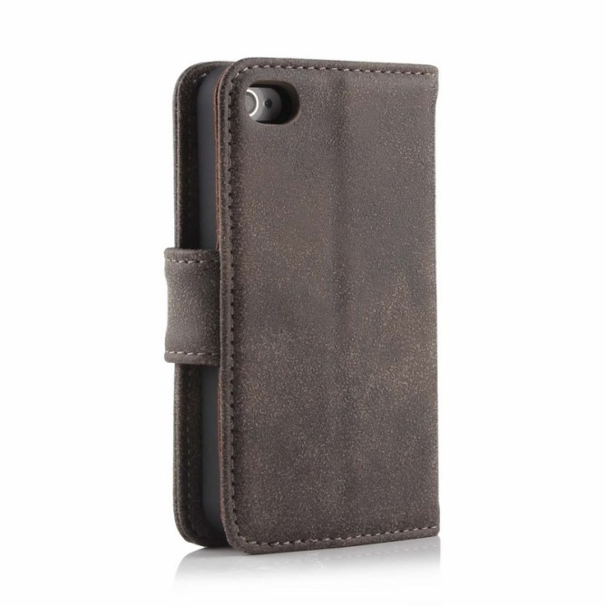 Golden Phoenix iPhone 4S Handyhuelle Royal Wallet-Case Wildleder dunkelbraun