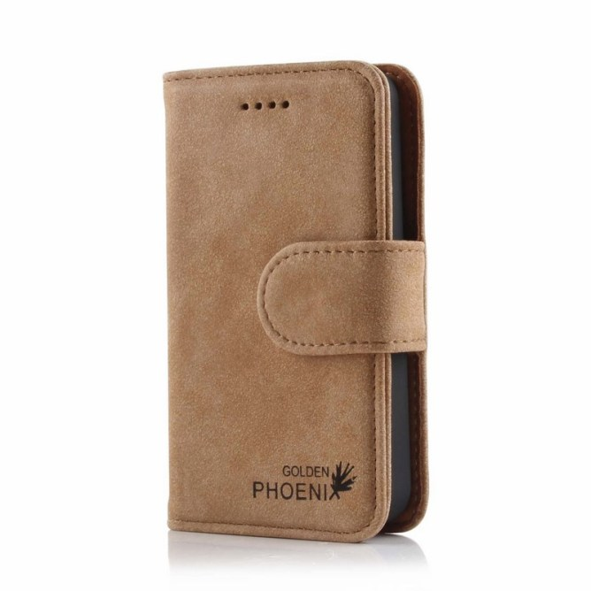 Golden Phoenix iPhone 4S Handyhuelle Royal Wallet-Case Wildleder hellbraun