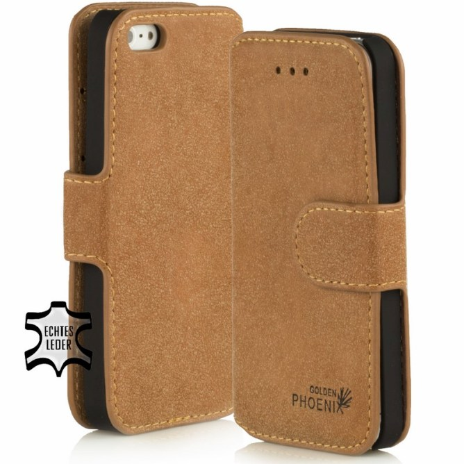 Golden Phoenix iPhone 4 Huelle Klassik Wildleder hellbraun