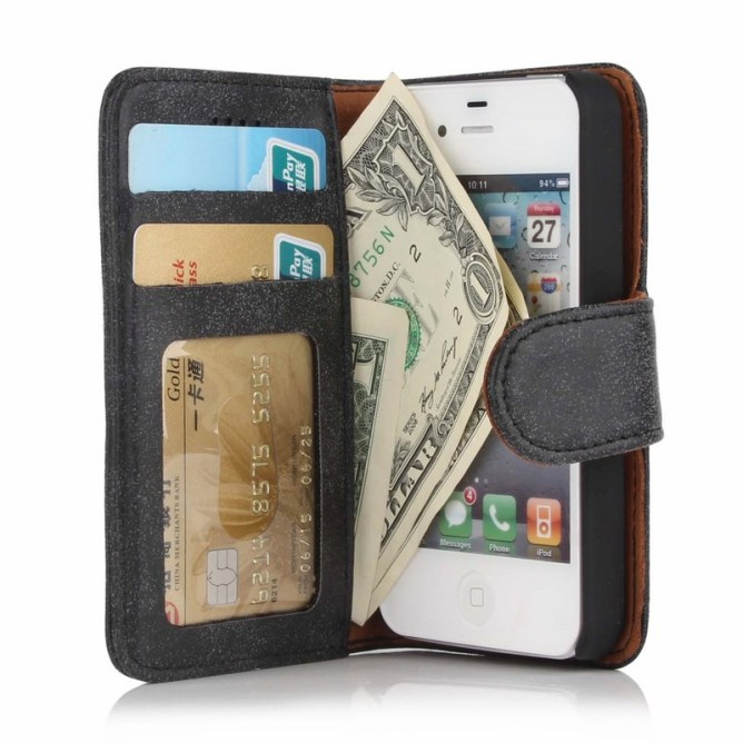 Golden Phoenix iPhone 4 Wallet-Case Royal Wildleder grau
