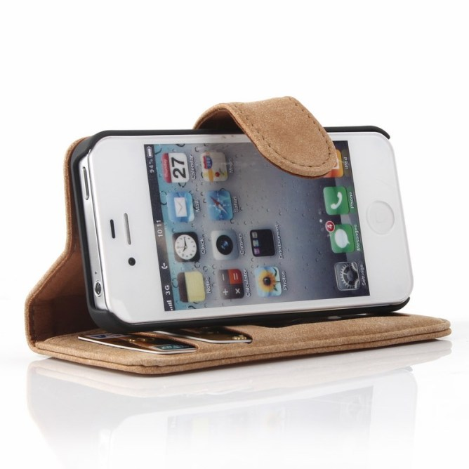 Golden Phoenix iPhone 4 Ledertasche Royal Wildleder hellbraun Aufstellfunktion