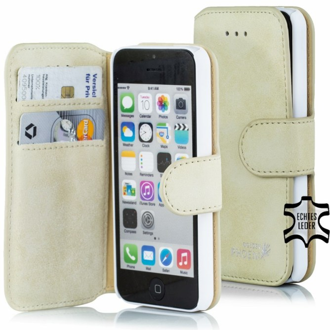 Golden Phoenix iPhone 5C Tasche Klassik Wildleder beige