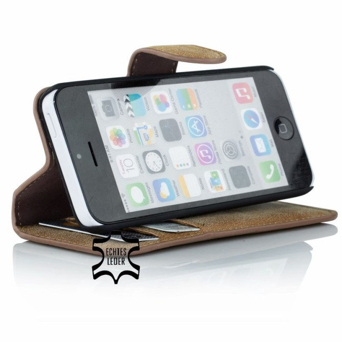 Golden Phoenix iPhone 5C Handyhuelle Klassik Wallet-Case Wildleder braun Aufstellfunktion