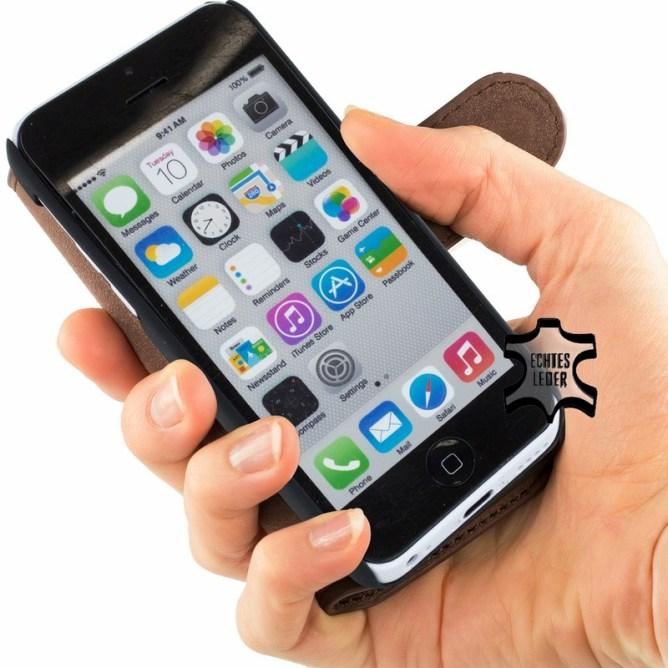 Golden Phoenix iPhone 5C Huelle Klassik Wallet-Case Wildleder braun aufgeklappt