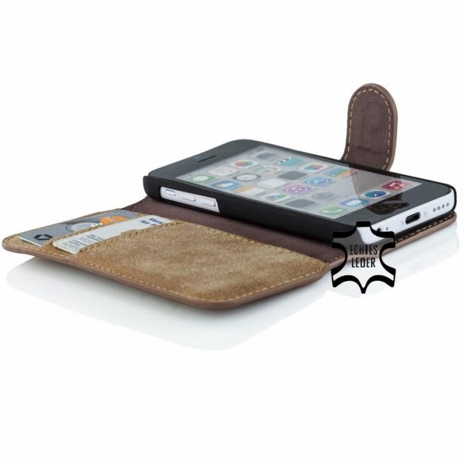 Golden Phoenix iPhone 5C Handyhuelle Klassik Wallet-Case Wildleder braun geoeffnet
