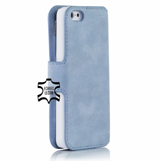 Golden Phoenix iPhone 5C Handyhuelle Klassik Wallet-Case Wildleder hellblau back