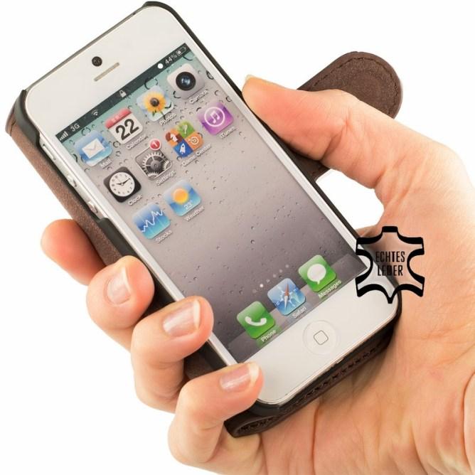 Golden Phoenix iPhone 5S Handyhuelle Klassik Wallet-Case Wildleder braun aufgeklappt