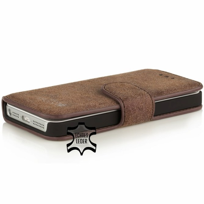 Golden Phoenix iPhone 5S Handyhuelle Klassik Wallet-Case Wildleder braun