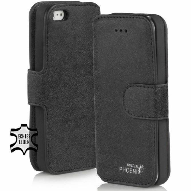 Golden Phoenix iPhone 5S Handyhuelle Klassik Leder schwarz