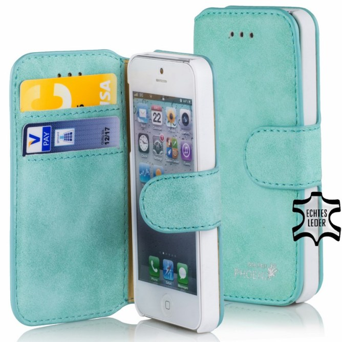 Golden Phoenix iPhone 5S Etui Klassik Wallet-Case Wildleder tuerkis