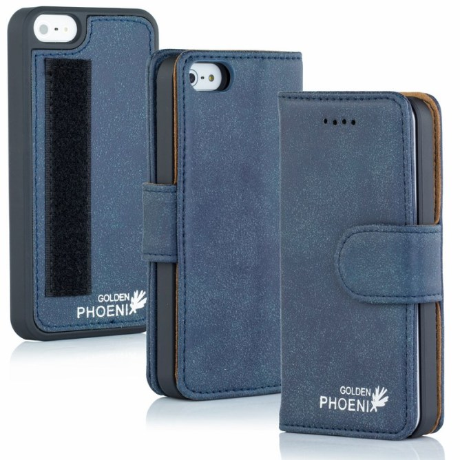 Golden Phoenix iPhone 5S Handyhuelle Royal Wallet-Case Wildleder blau