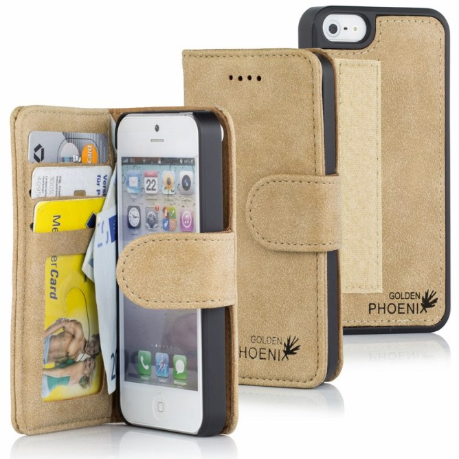 Golden Phoenix iPhone 5S Tasche Royal Leder hellbraun