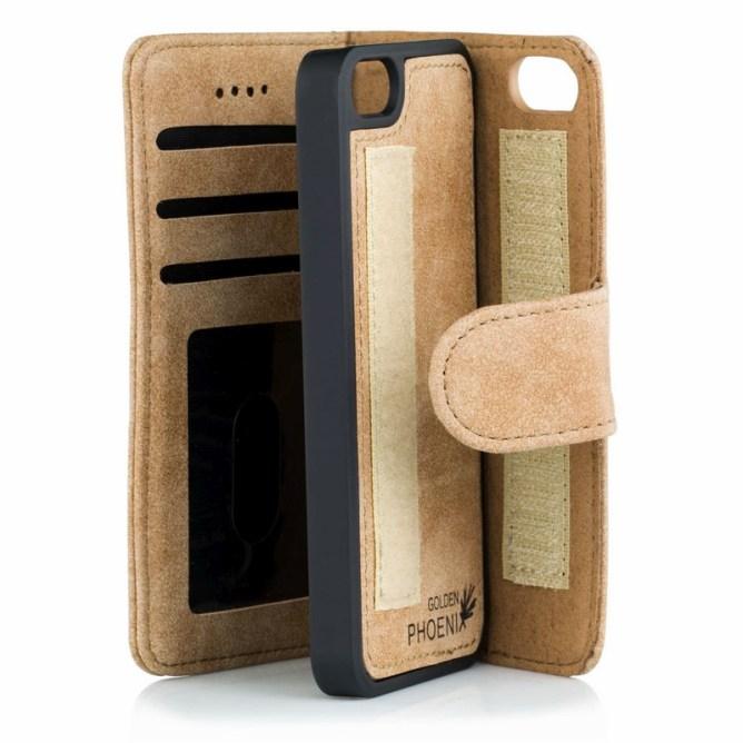 Golden Phoenix iPhone 5S Tasche Royal Wildleder hellbraun abnehmbares Backcover