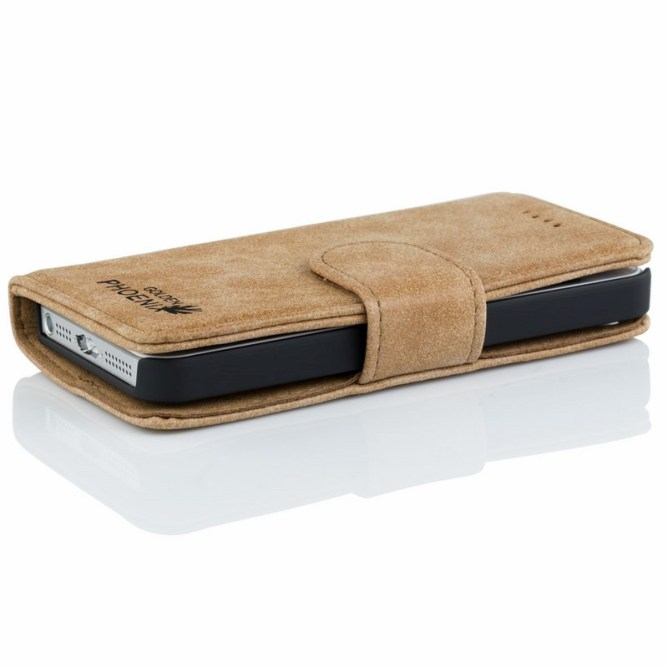 Golden Phoenix iPhone 5S Ledertasche Royal Wallet-Case Wildleder hellbraun