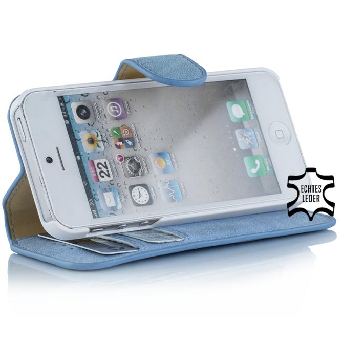Golden Phoenix iPhone 5 Handyhuelle Klassik Etui Leder hellblau Aufstellfunktion