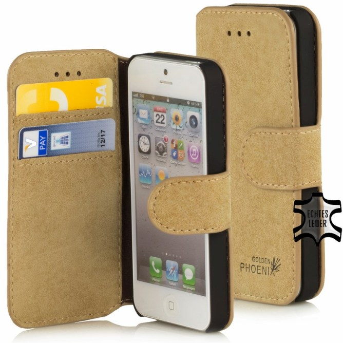 Golden Phoenix iPhone 5 Handyhuelle Klassik Wallet-Case Wildleder hellbraun