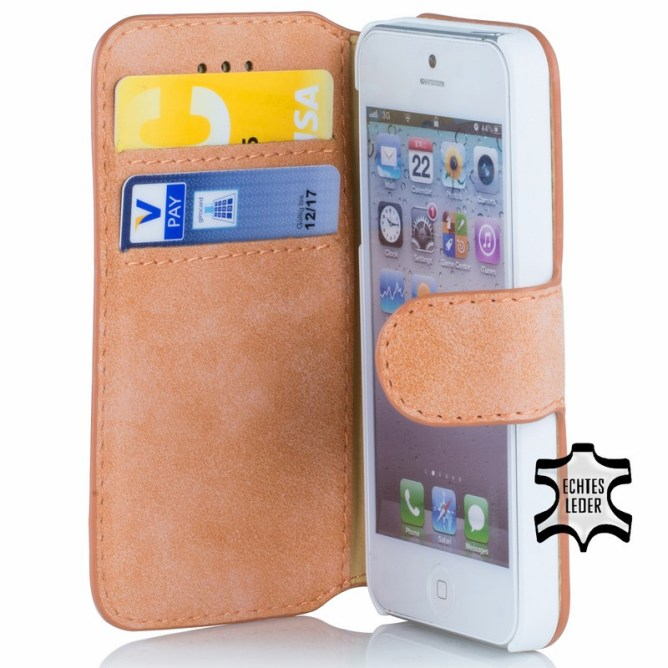 Golden Phoenix iPhone 5 Huelle Klassik Wildleder orange
