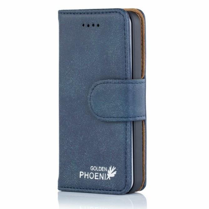 Golden Phoenix iPhone 5 Lederhuelle Royal Wallet-Case Wildleder blau