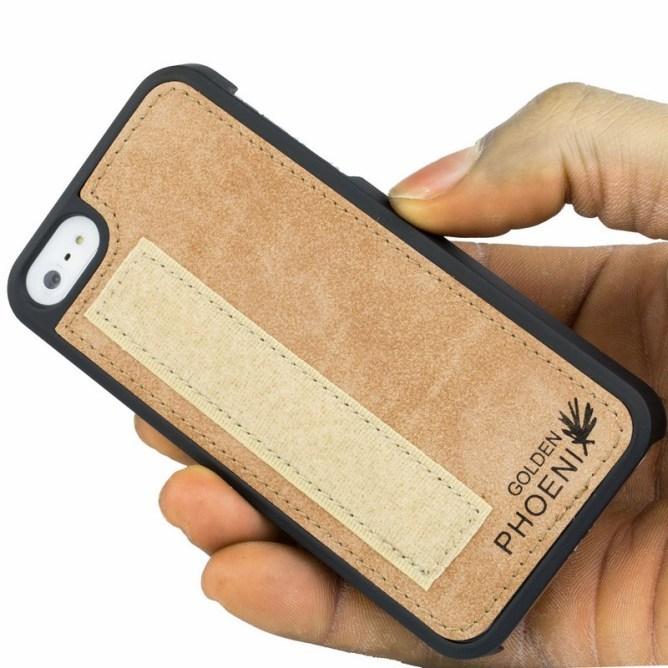 Golden Phoenix iPhone 5 Handyhuelle Royal Wallet-Case Wildleder hellbraun abnehmbares Backcover