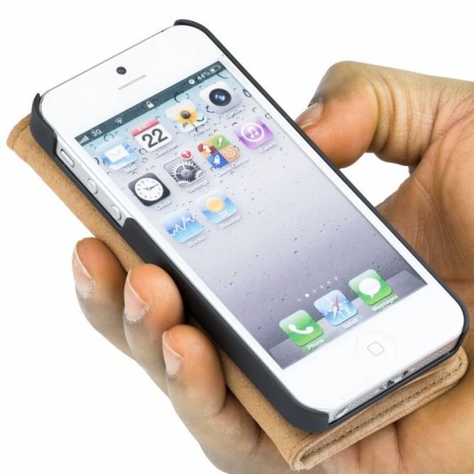 Golden Phoenix iPhone 5 Handyhuelle Royal Wallet-Case Wildleder hellbraun aufgeklappt