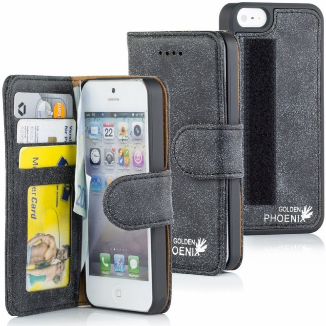 Golden Phoenix iPhone 5 Handyhuelle Royal Wallet-Case Wildleder schwarz