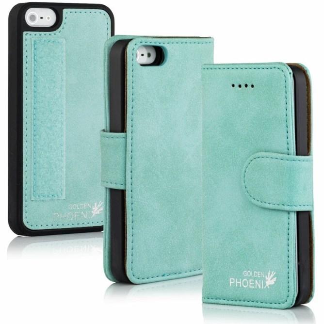 Golden Phoenix iPhone 5 Handyhuelle Royal Wallet-Case Wildleder tuerkis