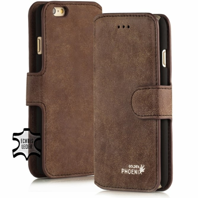 Golden Phoenix iPhone 6 Plus Huelle Klassik Leder braun