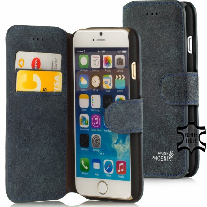 Golden Phoenix iPhone 6 Plus Handyhuelle Klassik Wildleder dunkelblau