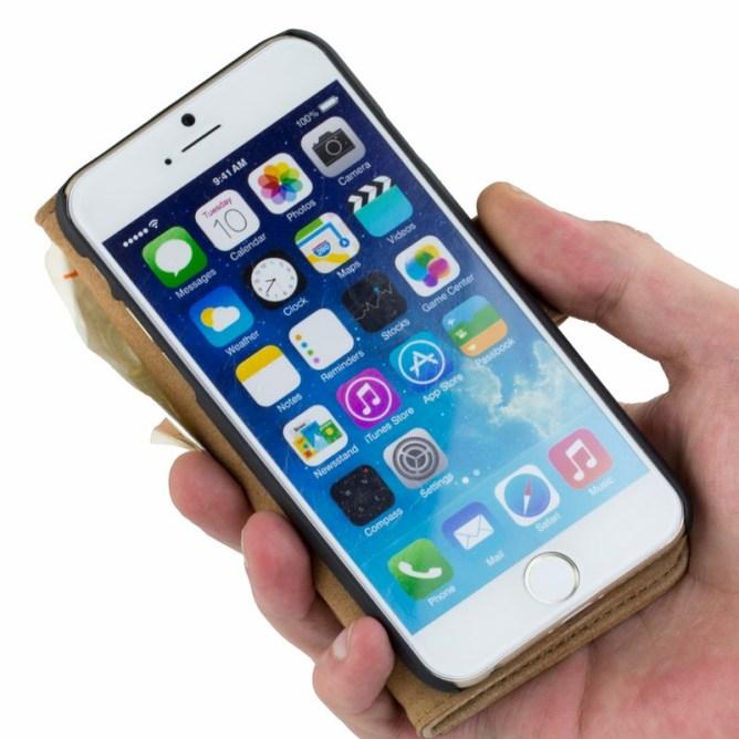 Golden Phoenix iPhone 6 Plus Huelle Royal Wildleder hellbraun aufgeklappt