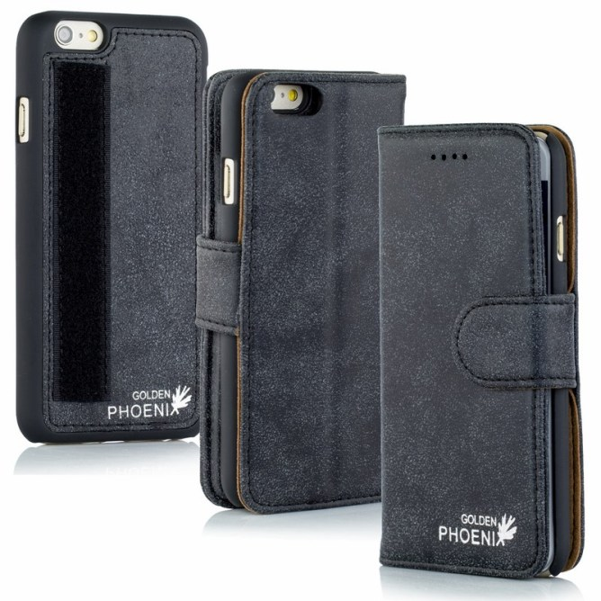 Golden Phoenix iPhone 6 Plus Handyhuelle Royal Wallet-Case Wildleder schwarz