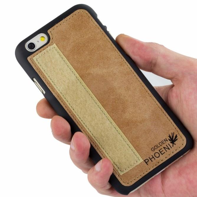 Golden Phoenix iPhone 6S Plus Handyhuelle Royal Wallet-Case Wildleder hellbraun Backcover